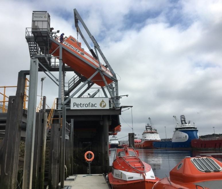 Petrofac freefall lifeboat in Aberdeen